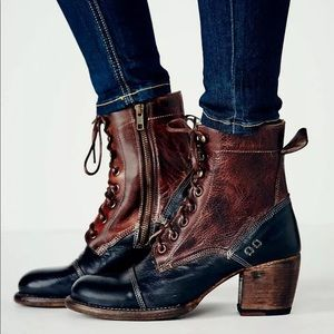 Bed Stu Oath Two-Toned Lace Up Block Heel Boots